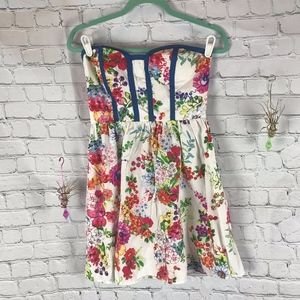 Kandy Kiss Strapless Floral Dress Size S